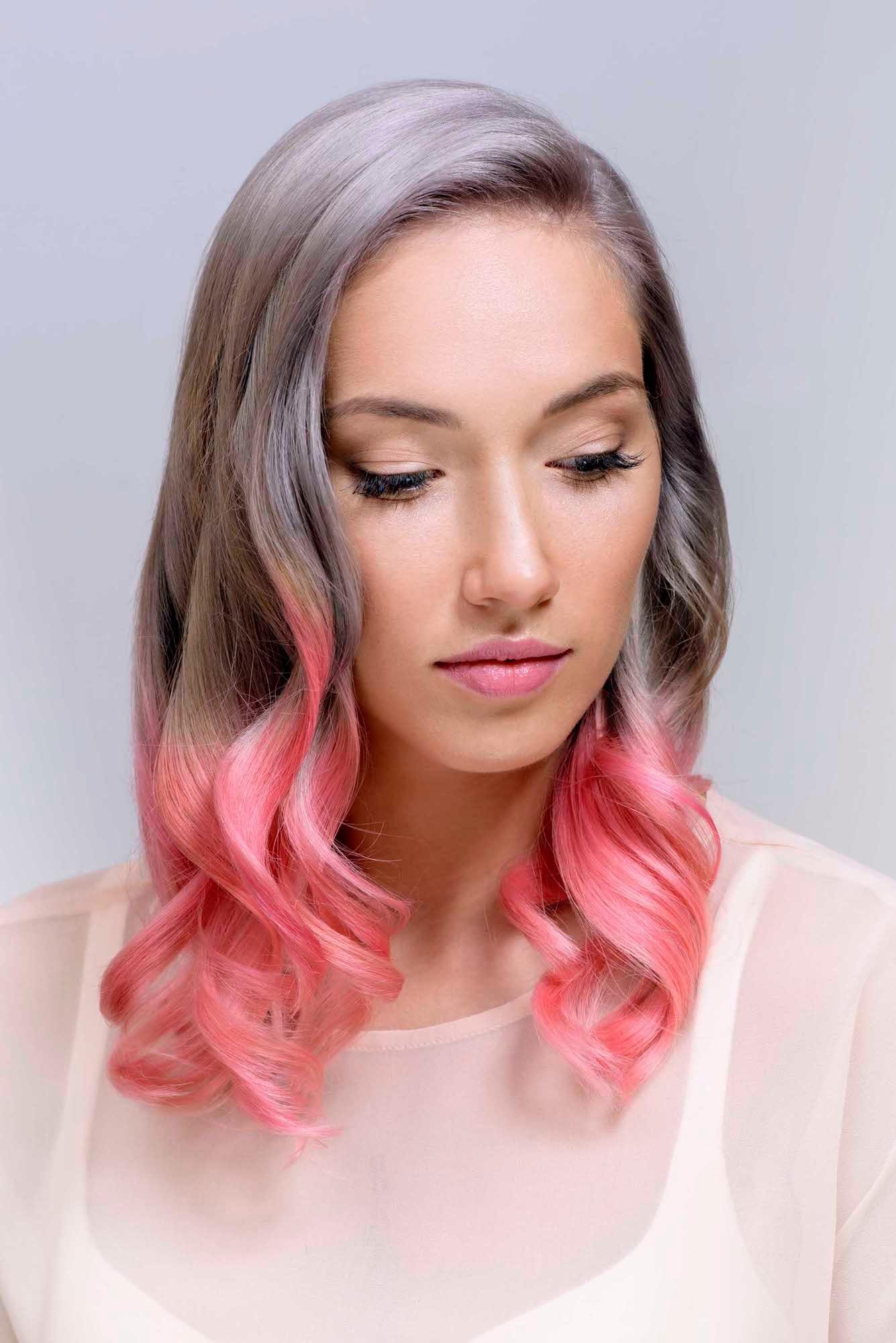 11 warna rambut ombre abu abu dan pink pastel