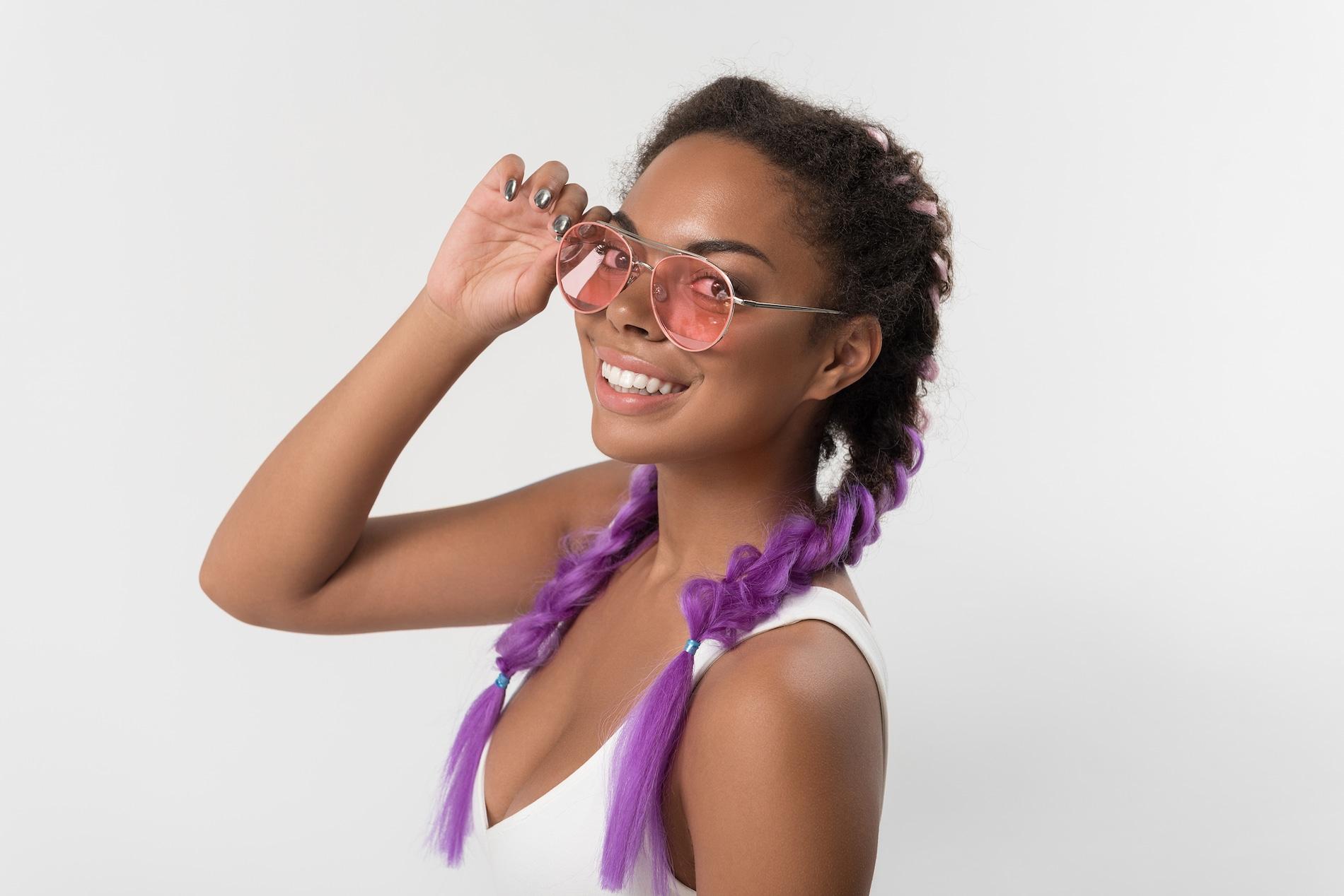 Warna rambut ungu sambungan tipe kanekalon