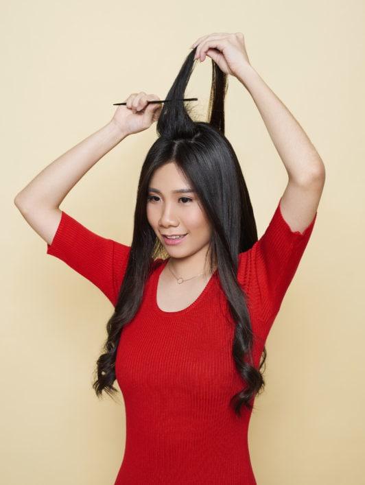 tutorial rambut beehive - step menyasak rambut