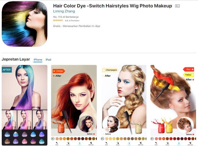 7 Aplikasi Warna Rambut Untuk Kamu Yang Hobi Gonta Ganti Hair Color