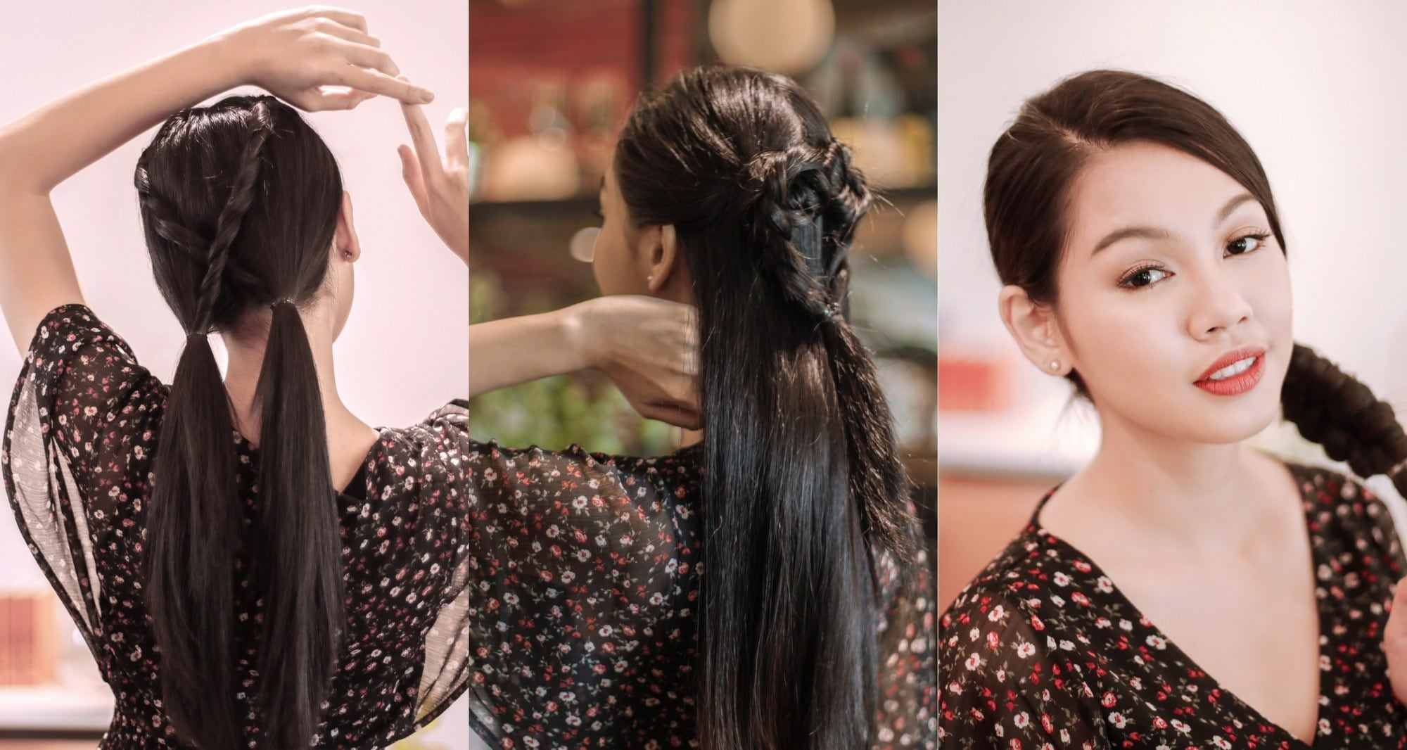 Kepang rambut simple dalam tiga gaya 1