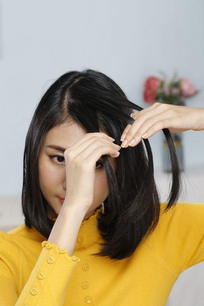 cara kepang rambut pendek