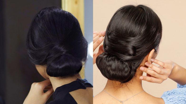 Tampak belakang wanita asia dengan 2 cara menata chignon