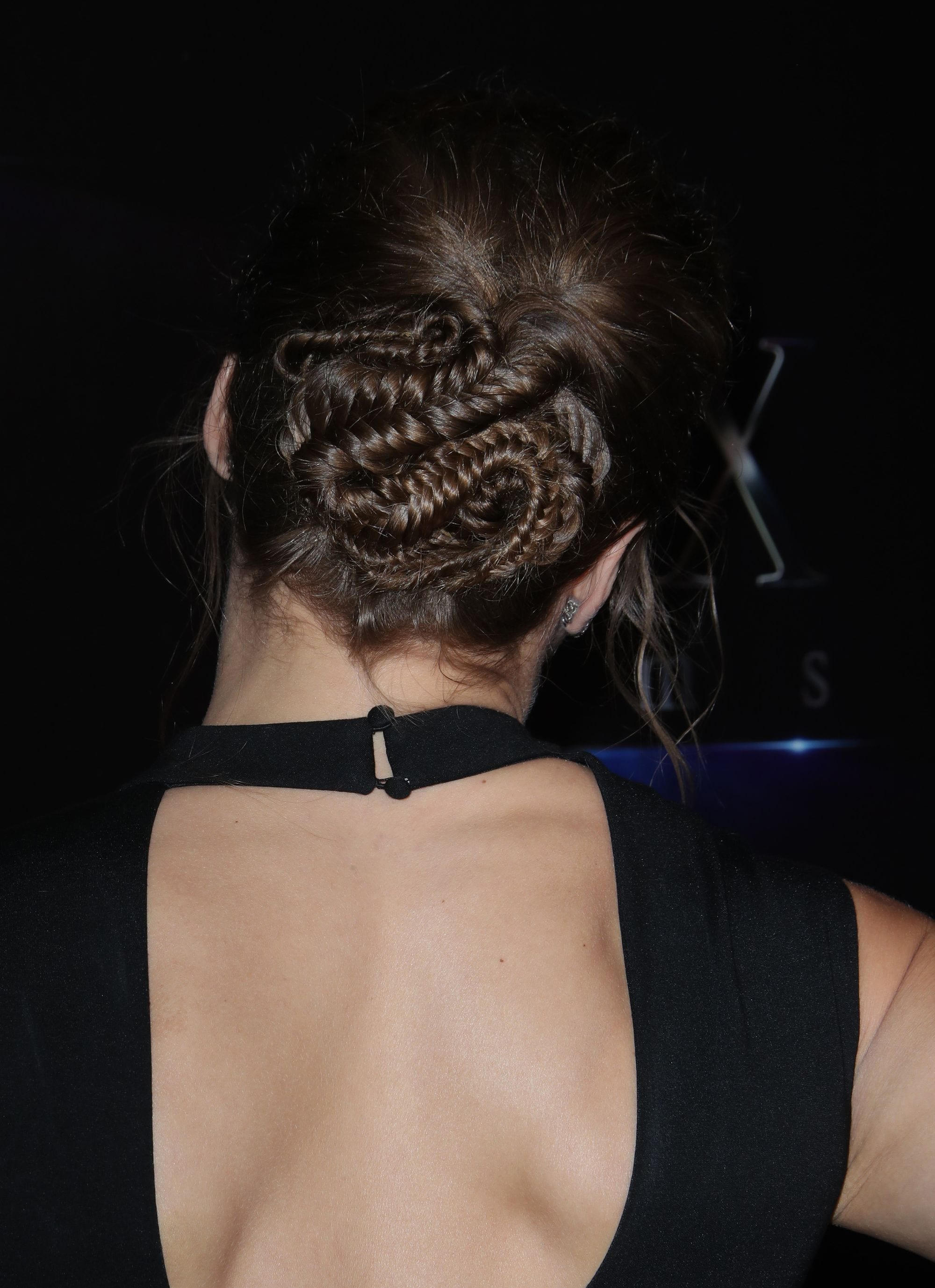 Vista de atrás de cabello castaño oscuro sujeto con trenzas