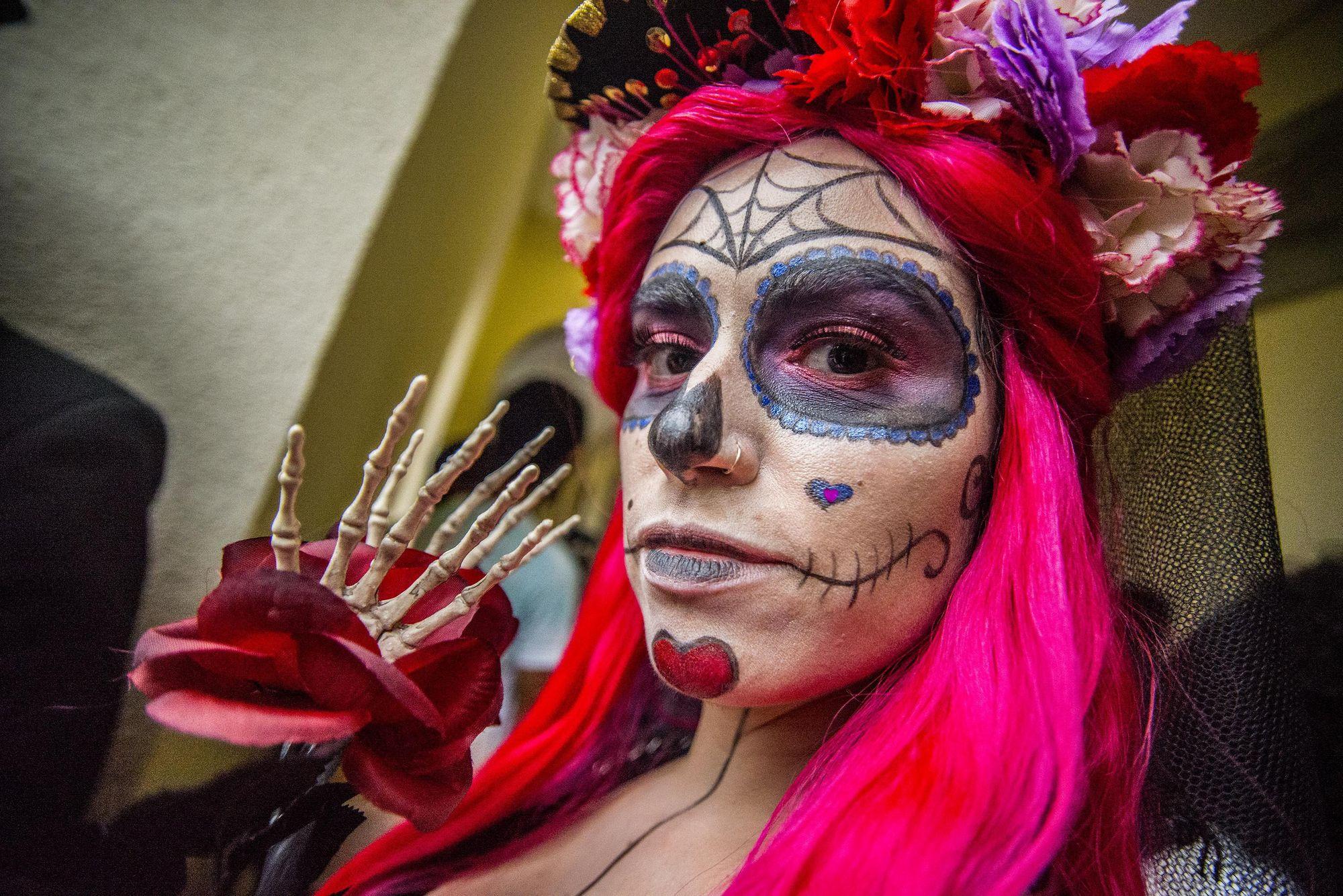 catrina mexicana de pelo rosa