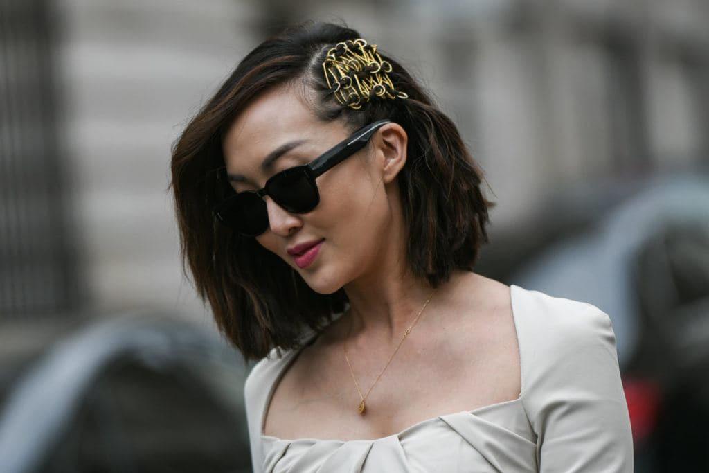 chriselle lim peinado de festival pelo corto castaño oscuro
