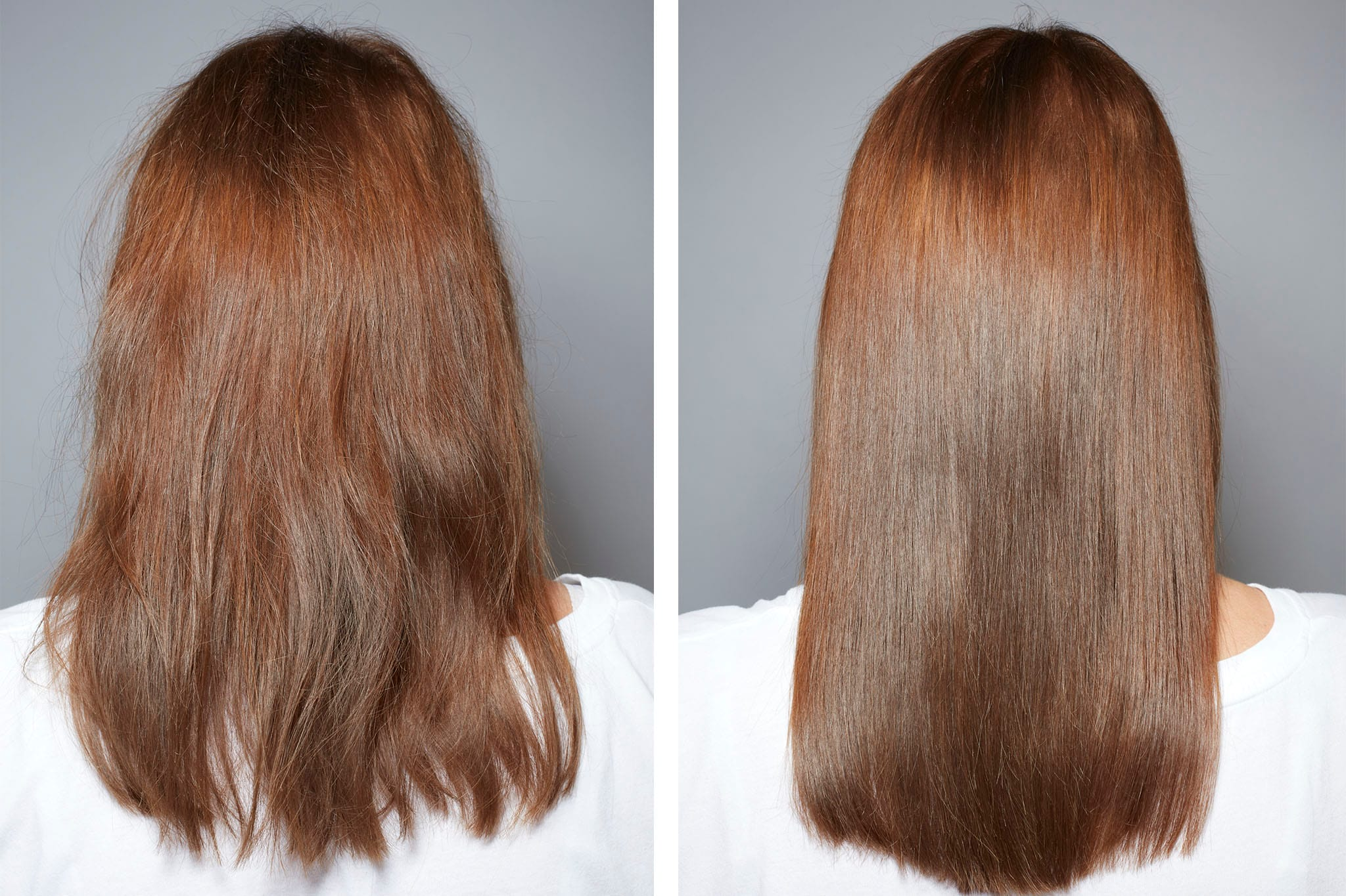 pelo quemado antes y después