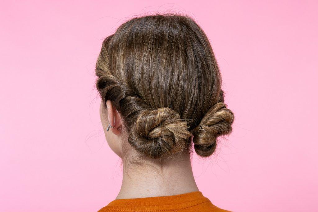 Peinado recogido con torzadas y rodetes paso a paso