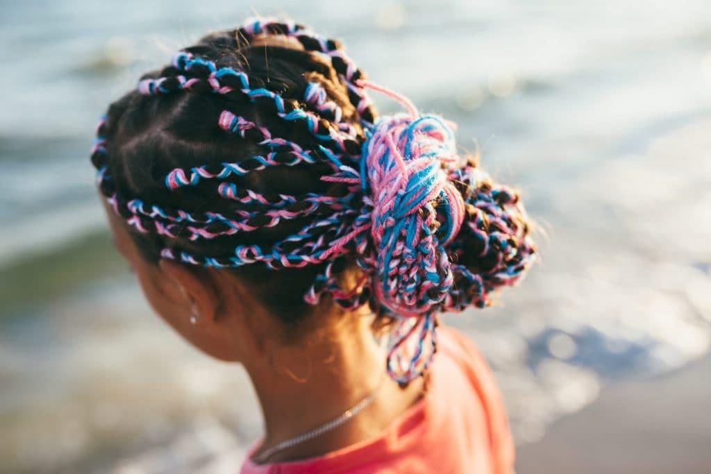 yarn braids colourful braids pink blue hairstyle