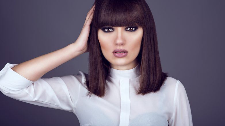 woman with straight hair bob hairstyle