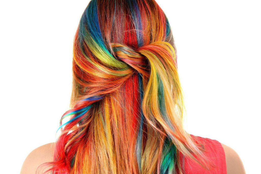 woman with colourful long hair in a twist hairstyle