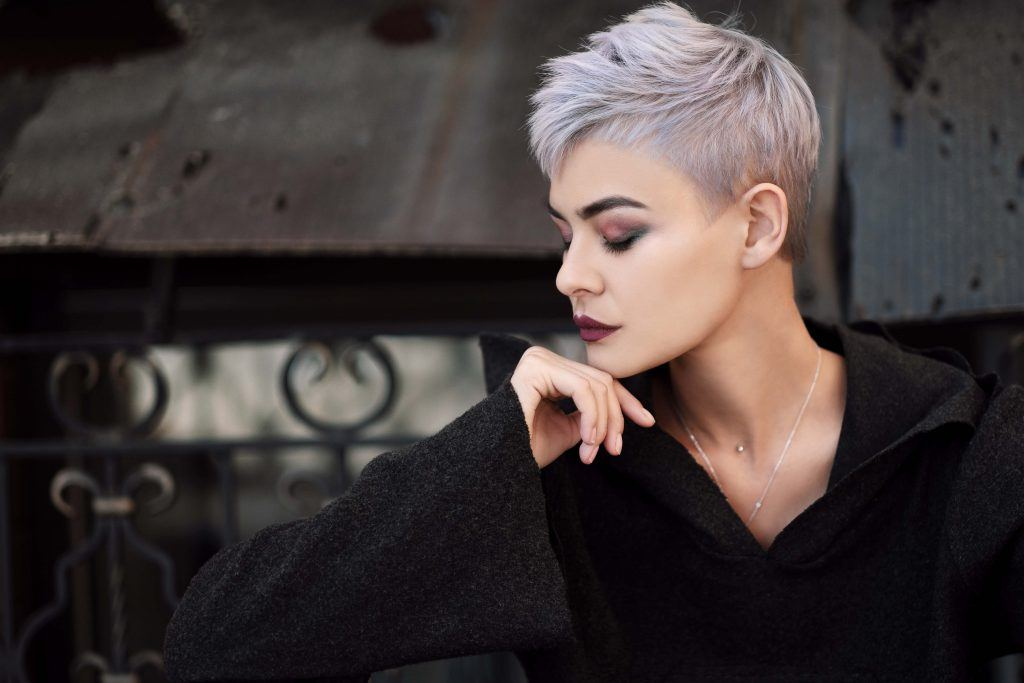 woman with short grey hair