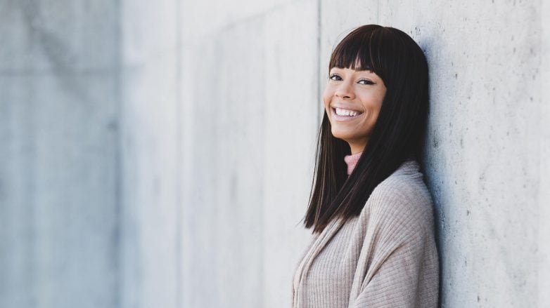 woman with a fresh fringe