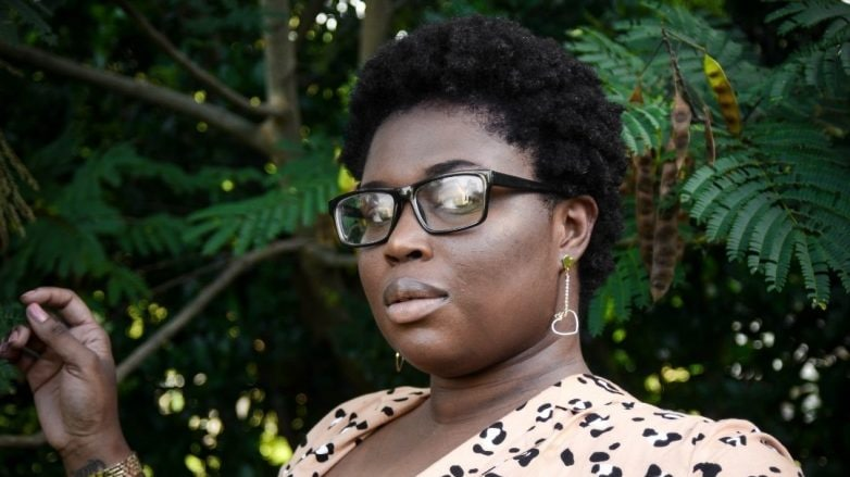 woman with a small afro hairstyle
