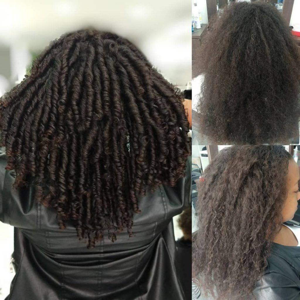 Foto com antes e depois do permanente afro no cabelo