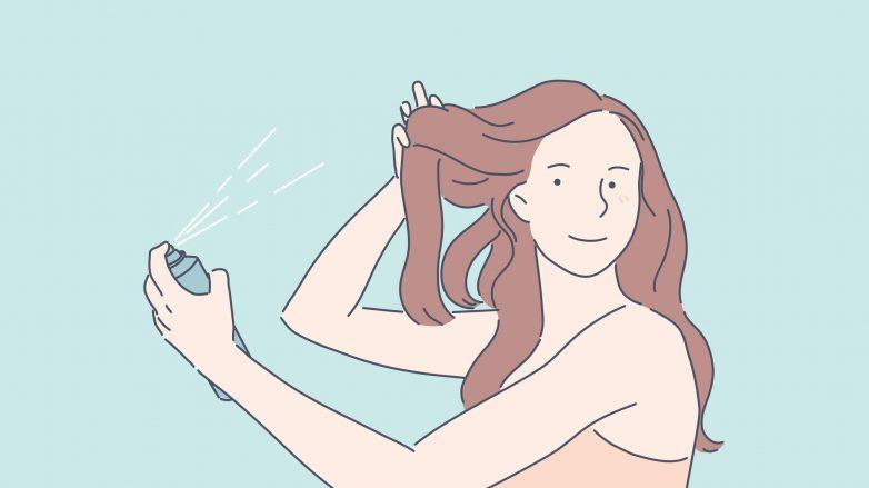 Ilustração de mulher usando spray de brilho para cabelo