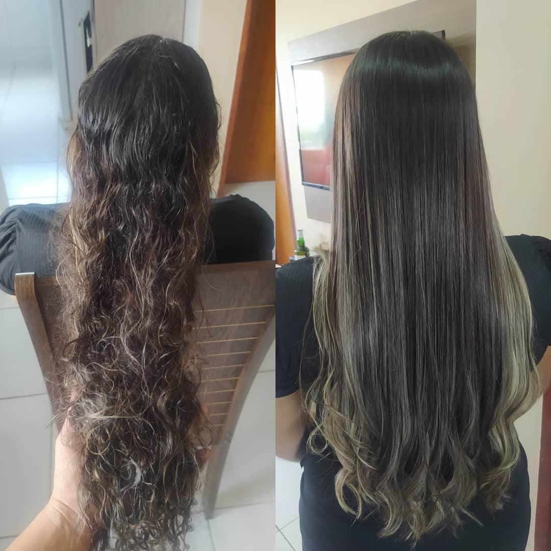 Foto de botox capilar no cabelo cacheado antes e depois