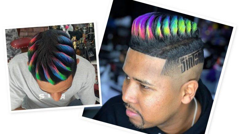foto de topete colorido conhecido como cabelo blindado e ariel barbeiro, inventor do cabelo blindado