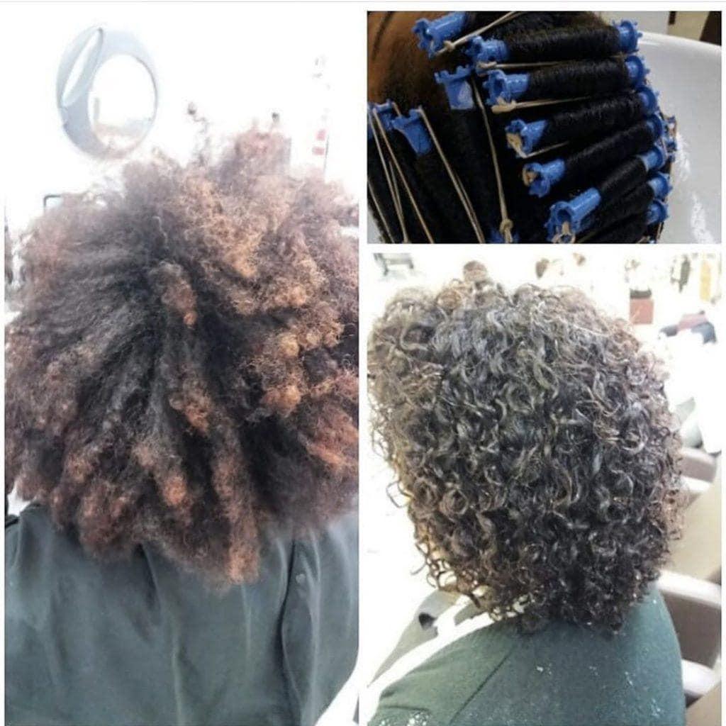 antes e depois de permanente afro
