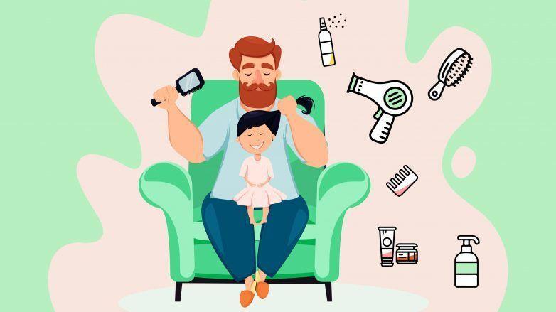 Ilustração de pai cuidando do cabelo da filha