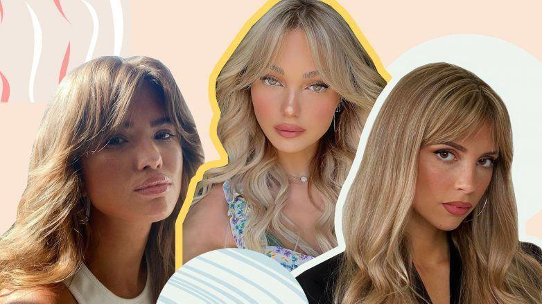 Três modelos exibem corte de cabelo com franja cortina, as famosas curtain bangs
