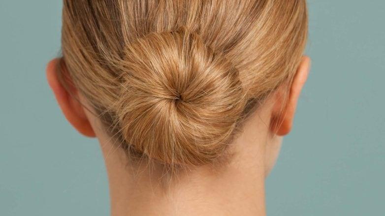 updo ballerina bun back view