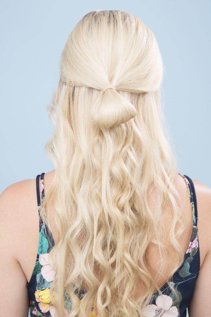 bow braid half bun create a loop