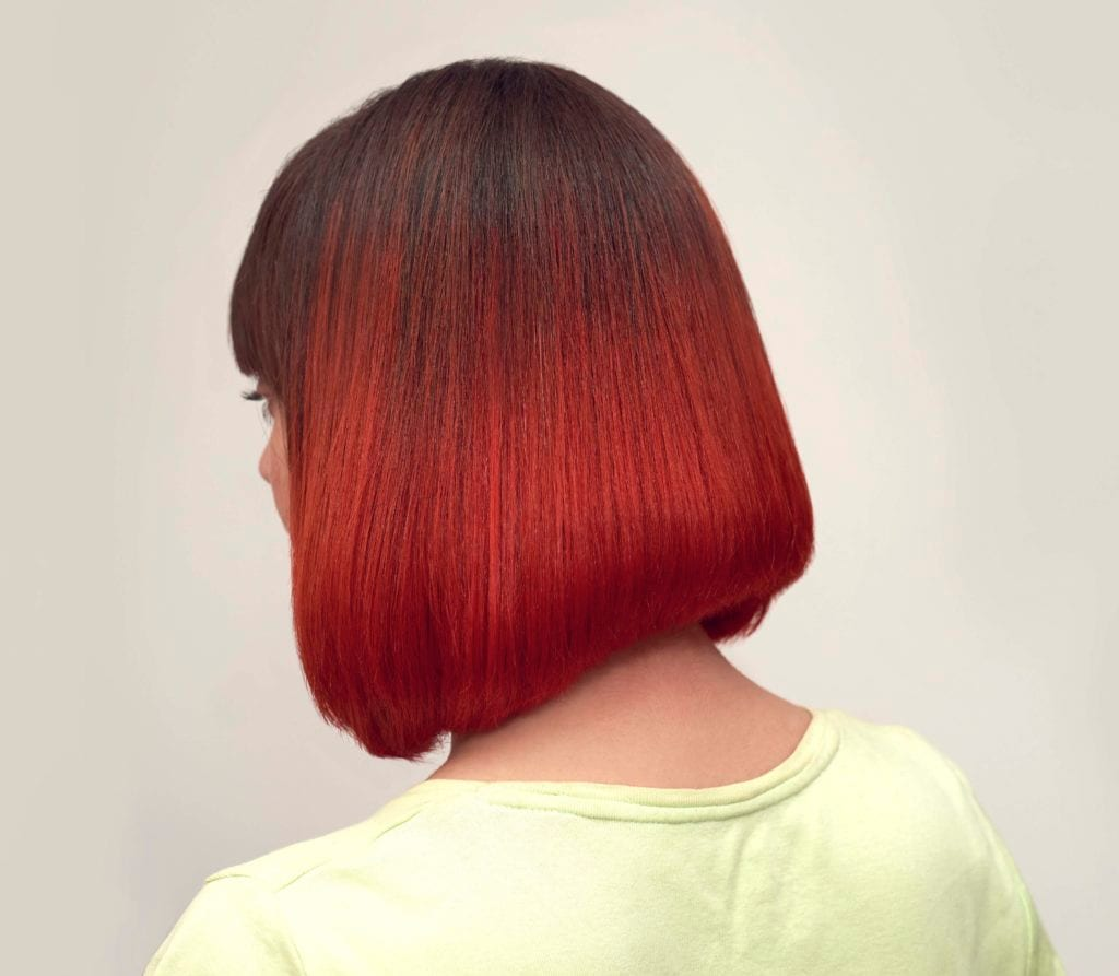 red colored dyed hair