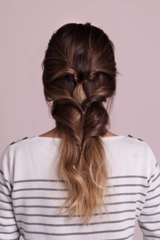 french braid updo inspired look with triple pony twists