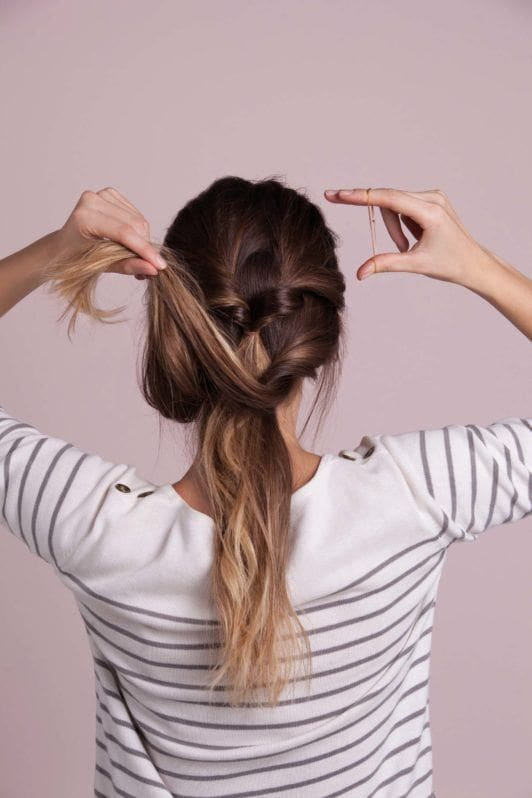 french braid updo inspired look with three ponytail twists