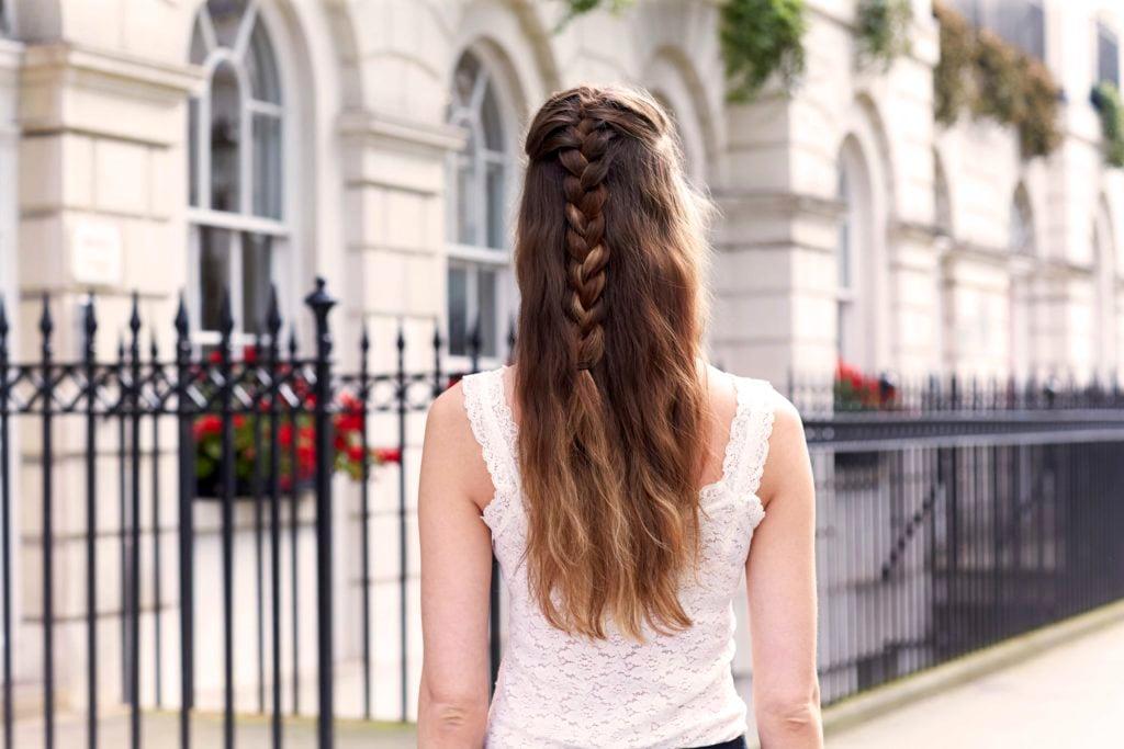 half French braid on long hair