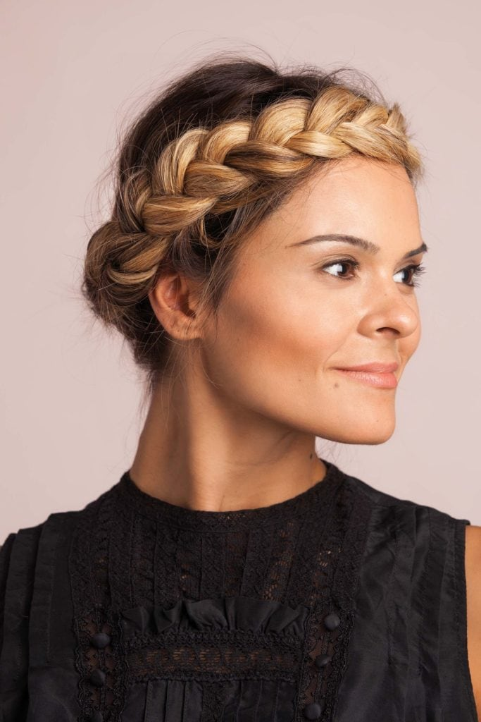 Party Hairstyles for Medium Hair halo updo