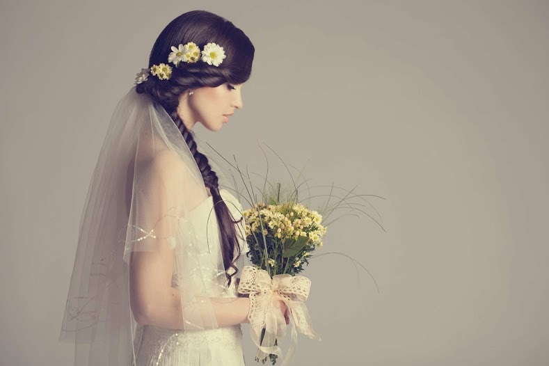 wedding hairstyles for thin hair side braid flowers
