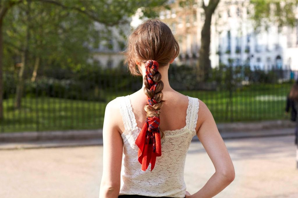ways to wear a scarf roped ponytail