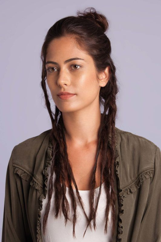 fake dreads - step 6 - woman with fake dreads and a half bun