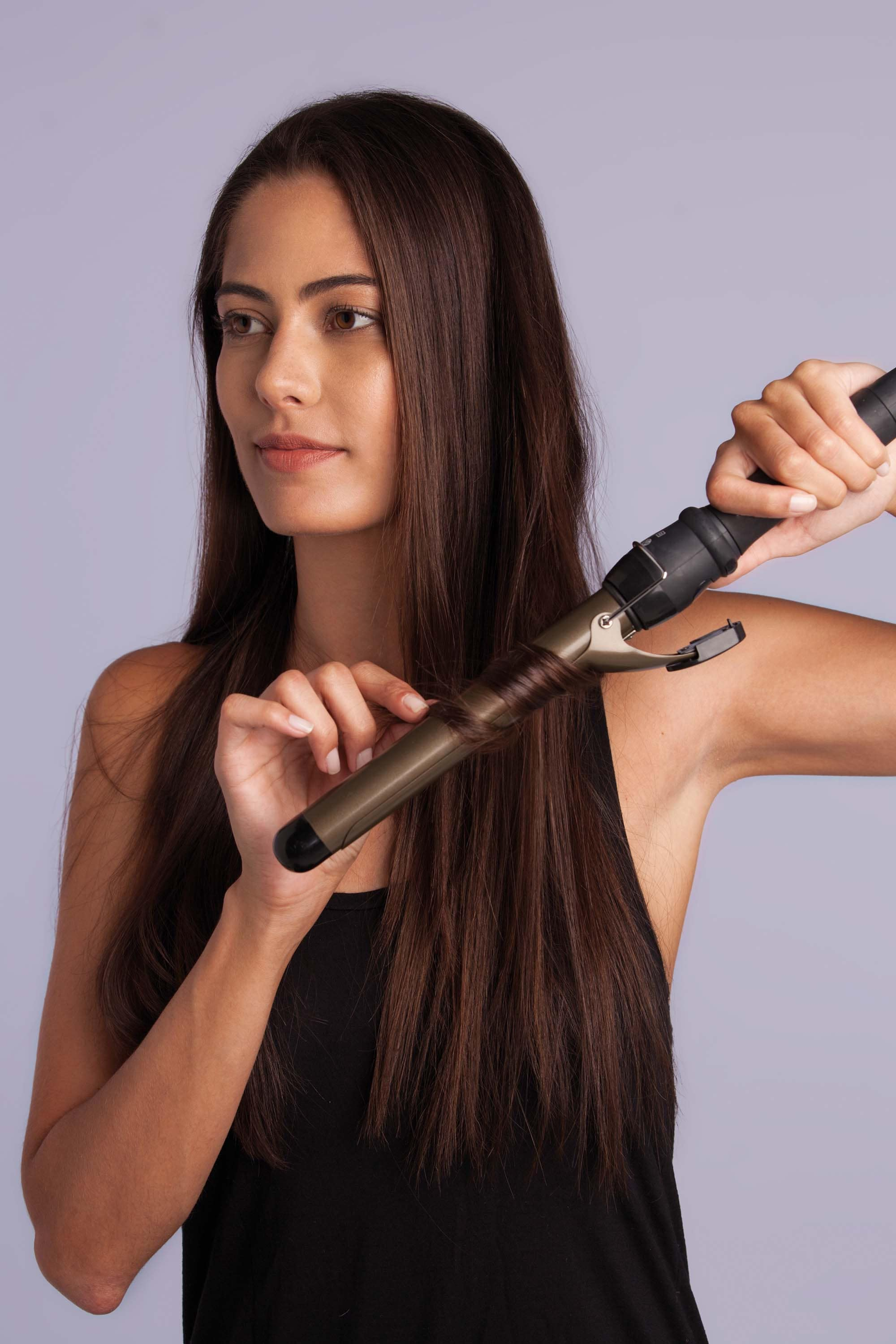 curling iron long brown hair