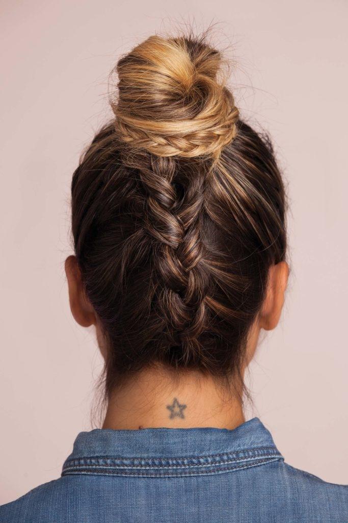 wedding hairstyles for thin hair upside down braid bun final look