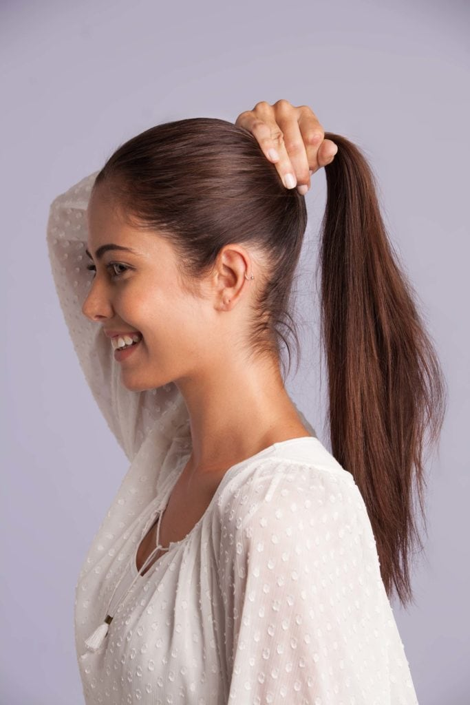 adding volume to ponytail gather hair into one
