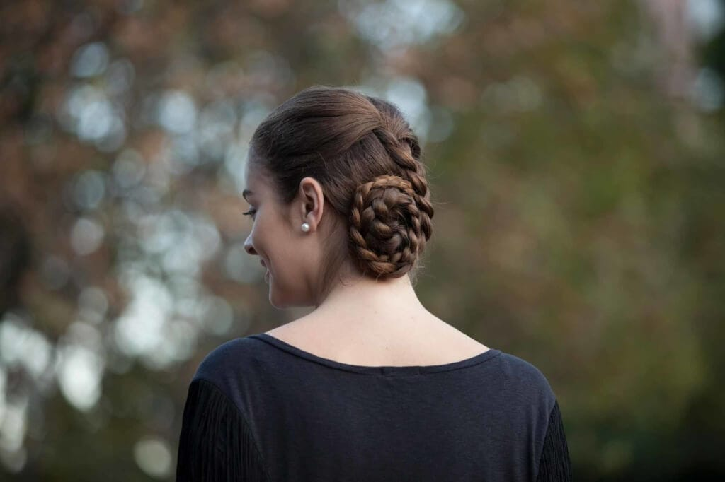 heatless hairstyles double braid chignon