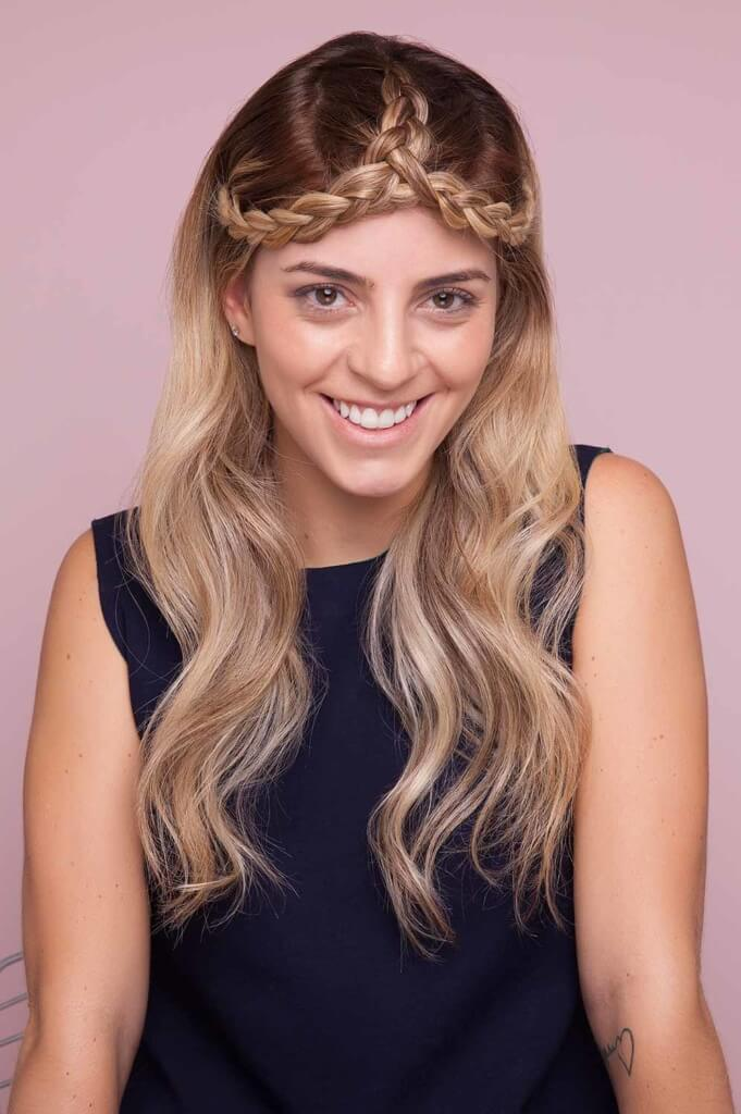blonde woman wears split crown braid
