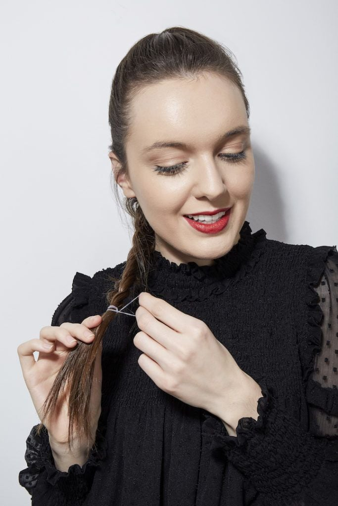 French braid tutorial: secure ends