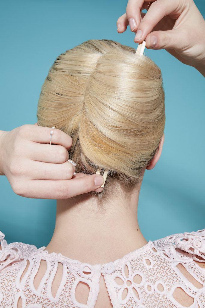 french twist: roll hair