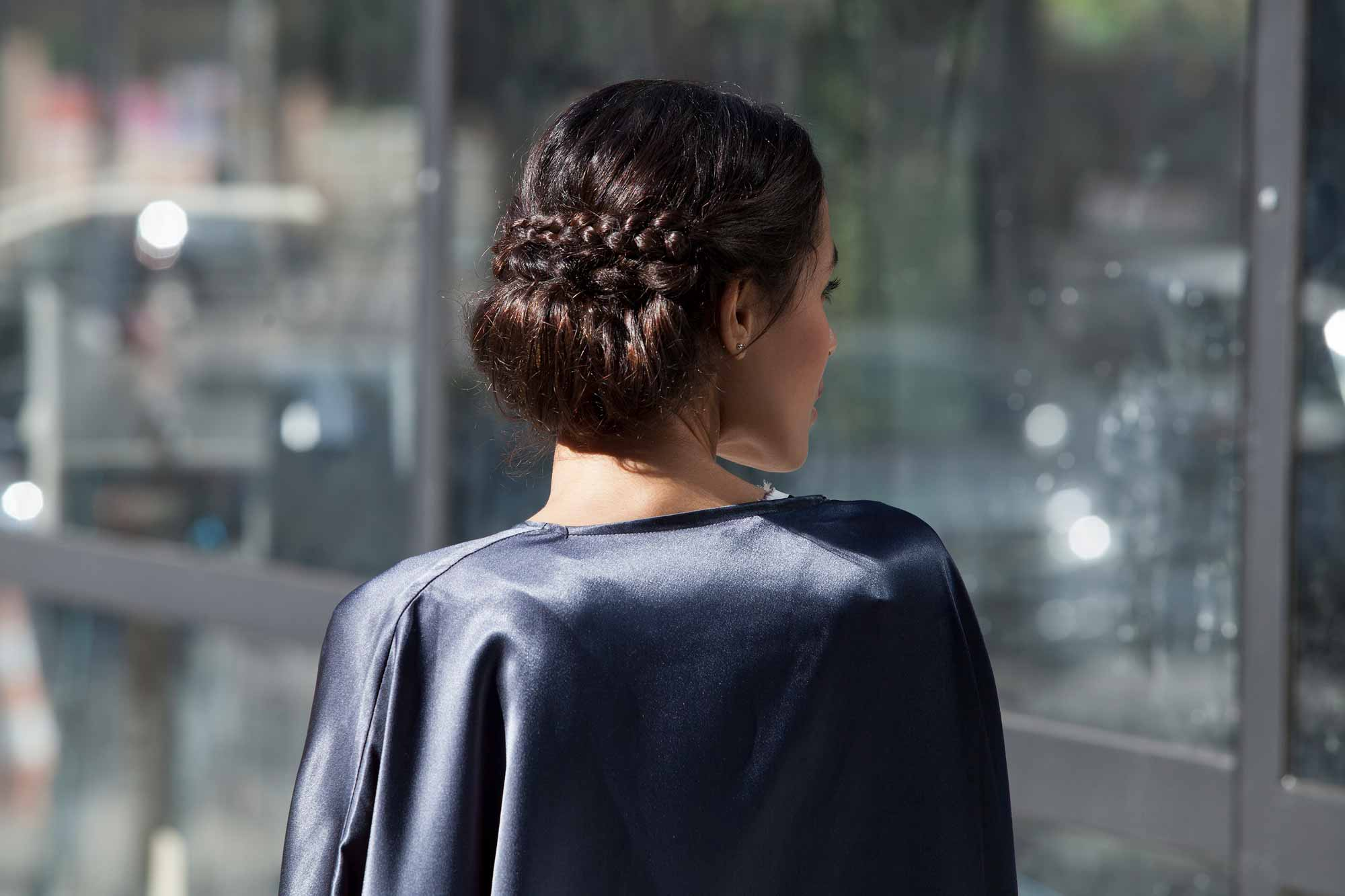 updos for medium-length hair greek bun
