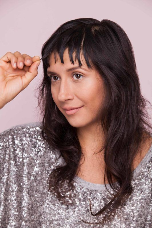 use gel to sculpt your layered bangs