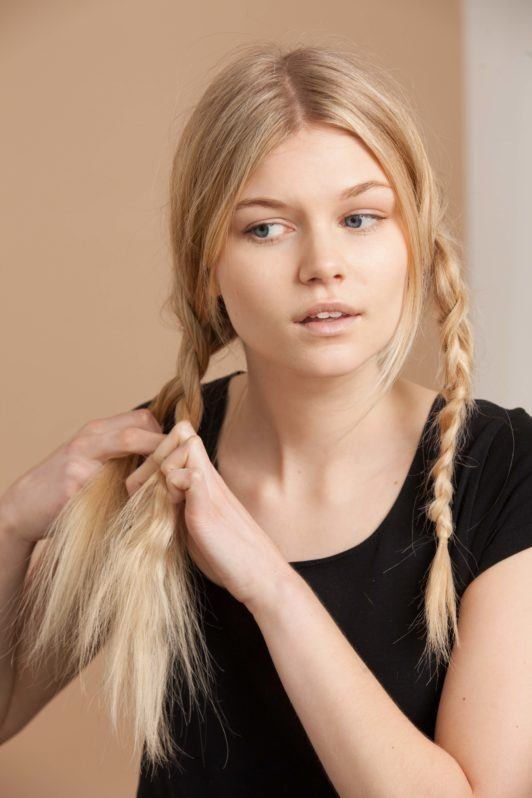 create a second three strand braids in order to create the second half of your milkmaid braids