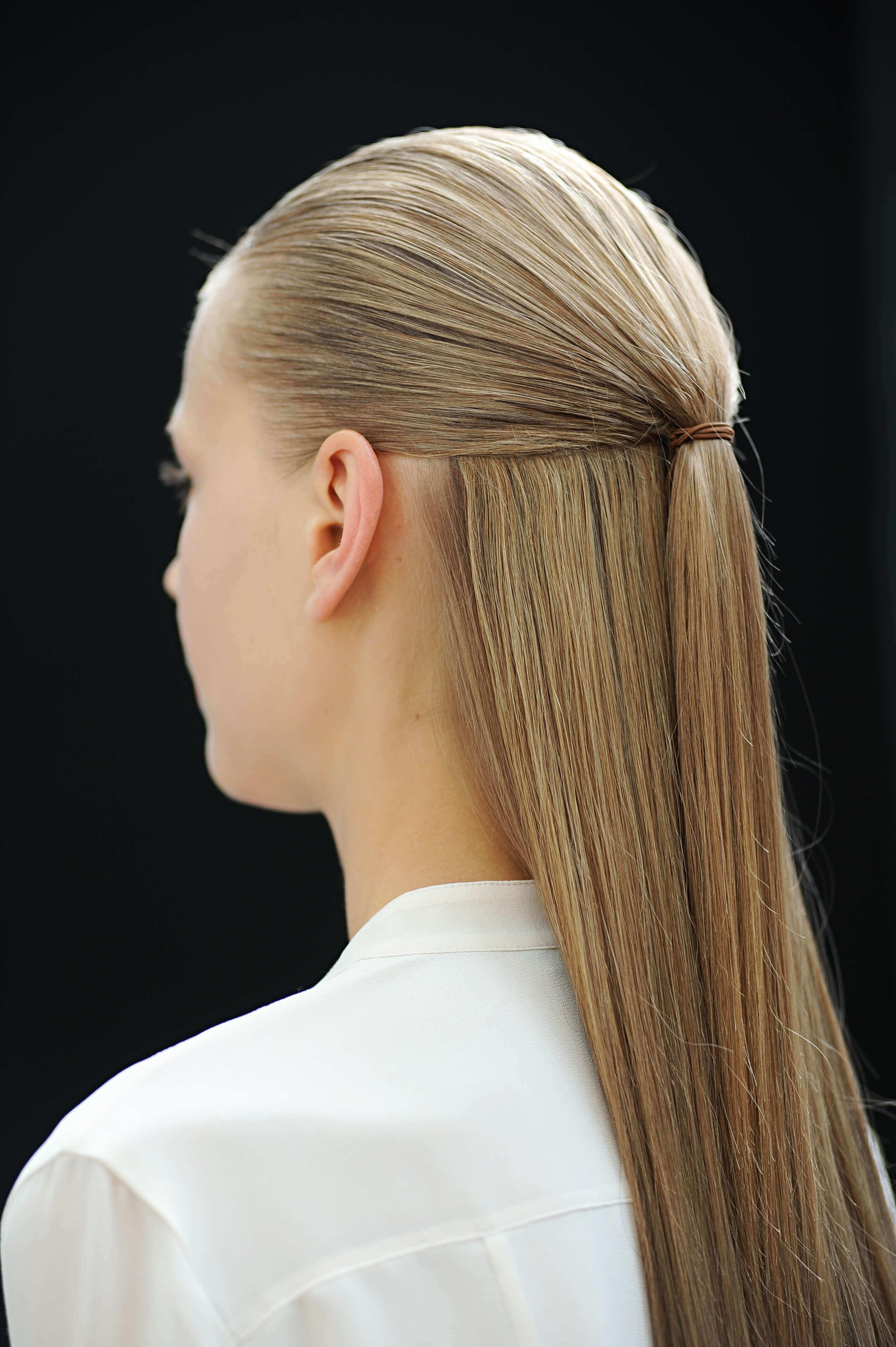 straight hair ideas half updo