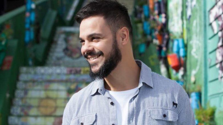 style fauxhawk fade haircuts on dark brown hair with a beard