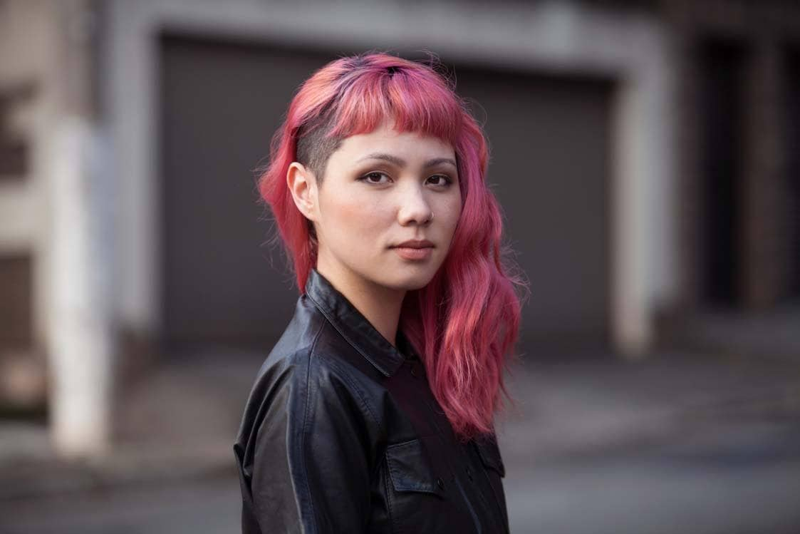 hot pink hair wavy side shave