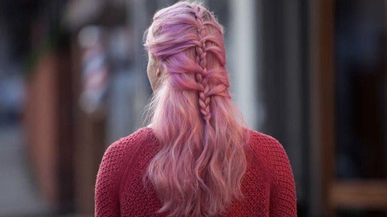 mermaid braid on pink hair