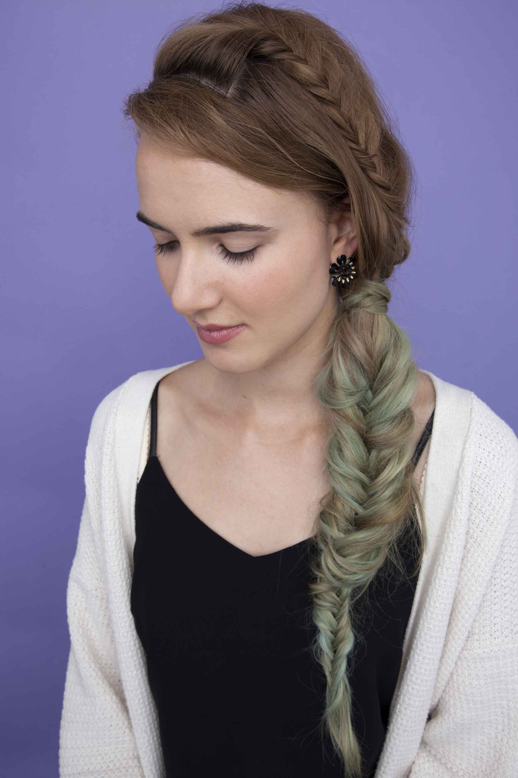 heat-damaged hair fishtail braid blue